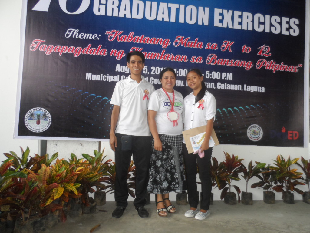 Manuel and Mickee (on right), the 2 students who turned up for the graduation ceremony.