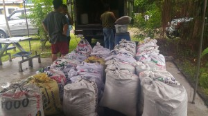 Loading sacks of vermicompost sold